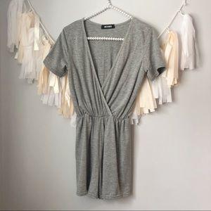 Missguided Grey Short Sleeve Romper